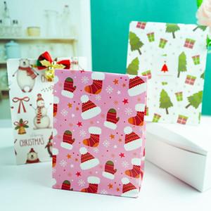 New Christmas Gift Packaging Bag Snowman Tree Penguin Food Bag DIY Baking Snack Bag Kraft Paper Flat Pocket GGE1900