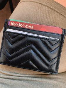 Designer Kartenhalter Männer Frauen Kartenhalter Schwarz Lammfell Mini Brieftaschen Münzbörse Tasche Innern Slot Tasche Echtes Leder Kamelie