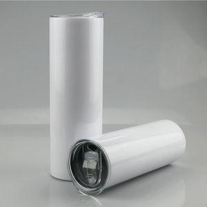 20oz 30oz التسامي فارغة مستقيم فارغة البهلوانات الفولاذ المقاوم للصدأ كأس نحيل الأبيض مع غطاء والبلاستيك سترو SEA SHIPPING CCA12593