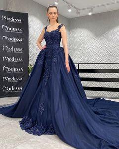 Navy Blue Quinceanera Dresses Beaded Prom Dresses Sheer Bateau Neck Lace Appliqued Evening Gowns With Detachable Train Plus Size L100
