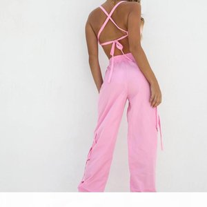 Boofeenaa Pink Sexy Two Piece Set Crop Top And Cargo Pants Suits Streetwear Tracksuit Women Summer Clothes Matching Sets C68ae64 Q190429