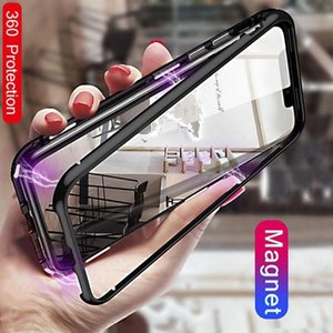Magnetic Adsorption Metal phone Case for for iPhone 12 11 XR XS MAX Samsung NOTE 10 Full Body Metal Case with Back Tempered Glass