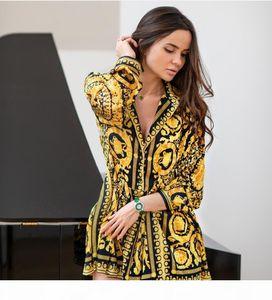 New Popular Women Shirt Dress Fashion Vintage Print Ladies Sexy Robe Femme Summer Sexy Woman Dress