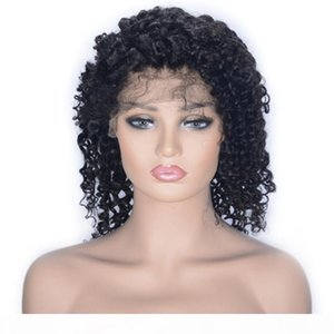 Brazilian Virgin Hair Lace Front Wigs Pre Plucked Short Kinky Curly Human Hair Wig for Black Women Natural Color