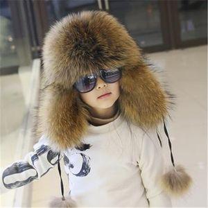 Boys Winter Fox Girls Thick Mink Fur Caps Warm Pelaje Bombers Hats High Imitation Hat Fourrure Ear Protection Cap