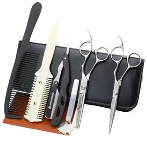 """5.5 """"Damasco Cabelo Tesoura Brasão Scissor Scissor Venda Profissional Cabelo Priviação Tesoura Barber Razor Japão Haircut Kit"""