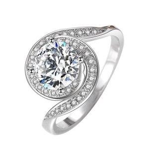 المبتكرة دوامة العاصفة النساء محاكاة خاتم الماس 1.5 ct البث المباشر بيع الساخنة النحاس الأبيض الذهب اللون الاحتفاظ خاتم الزواج fwit