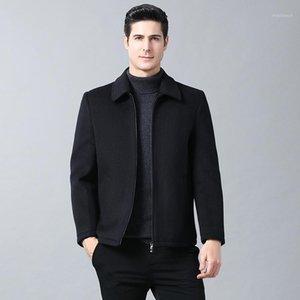 Long collier de mélange extérieur vêtement de vêtement de vêtement de roulement à double poignée à double boutonnage de laine de laine de laine de laine de laine de laine massif de laine de laine