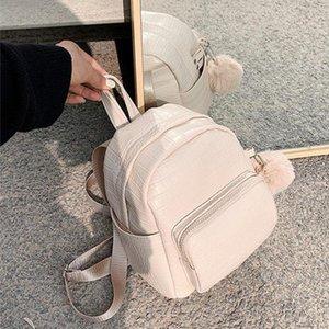 Padrão de jacaré PU mochilas de couro para mulheres mochila pequena com bola de cabelo senhora back pack para saco de escola