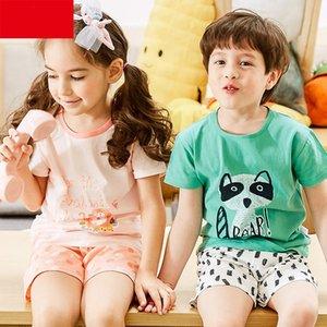 Summer Children Pajamas Sets Shorts Sleep Shirt Set Baby Girls Clothes Blue Bird Pajama Sets Cotton Children's Pajamas