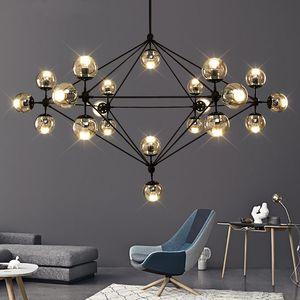 التصميم الإيطالي غرفة غلوب الثريا الإضاءة المعيشة غرفة نوم ومطبخ جزيرة الزجاج بريق فقاعة الثريا بلاك روز لون الذهب