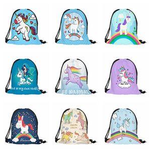 Student Cartoon Unicorn Backpacks 20 Styles 3D Digital Printed Unicorn Drawstring Bag Outdoor Travel Beach Bags 39*32cm Backpacks DH0830 T03