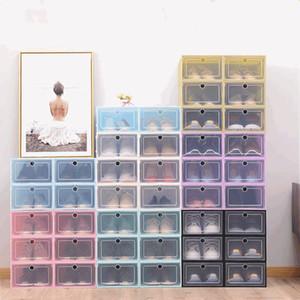 Shoe Storage Box Thicken Clear Plastic Shoe Box Dustproof Transparent Shoe Boxes Candy Color Stackable Shoes Organizer Box