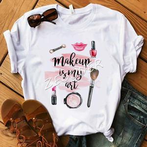 Makeup Is My Art Shirt Lady Vogue Lipsticks Nail Polish Kiss T Shirt Women Cotton O Neck Casual T shirt Hipster Holiday