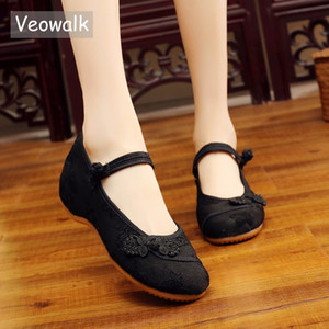 Veowalk Chinese Knot Women Cotton Fabric Embroidered Ballet Flats Retro Ladies Casual Traditional Old Beijing Shoes Solid Color 201012