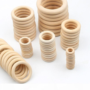 1000pcs lot 15-70MM DIY Wooden Beads Connectors Circles Rings Unfinished Natural Wood Lead-Free Beads Baby Teething Rings Wooden Rings