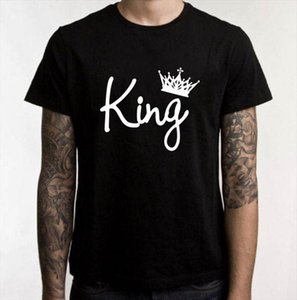 King Queen Letter Crown Print T Shirt Couple Short Sleeve O Neck Loose Tshirt 2020 Summer Women Tee Shirt Tops Camisetas Mujer