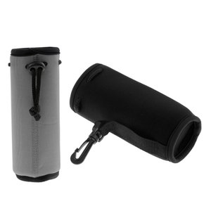 2pcs Black & Grey Neoprene Insulated 500ml Sports Drink Water Bottle Cover Sleeve Holder with Drawstring & Clip 175 x 64mm