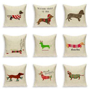 Merry Christmas Cushion cover Dachshund Dog For Sofa Linen Print Throw Pillow Case Car Seat Pillowcases Decorative Cushion