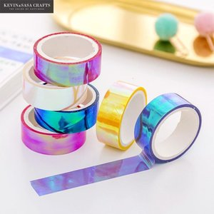 6colors Set Rainbow Laser Washi Glitter Stationery Scrapbooking Decorative Adhesive Tapes Diy Masking Tape School Supplies T200229