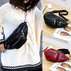 Unisex Leather Waist Bag Crossbody Bags With Belt Fashion High capacity Shoulder Chest Bag Black Decoration Pack Sept 16