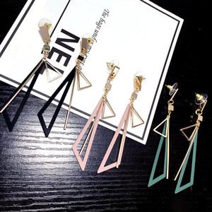 European and American long geometric earrings female wild temperament size hollow triangle tassel irregular metal earrings