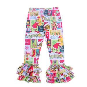 Bambini Girls Christmas Leggings Baby Girl Grinch Grinch Pantaloni Ruffle Leggings invernali per ragazze Costume di Natale Leggings glassa 201207