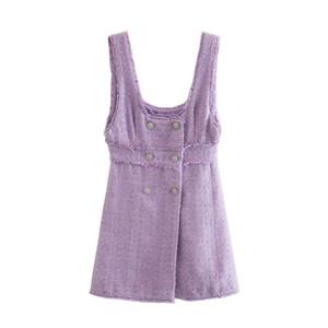 Blsqr Mujer dulce Doble Doble Tweed Tweed Mini Vestido Violet Violet Frayed Female Vestidos Vestidos Mujer