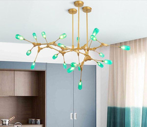 2020 Nordic living room dining room green glass molecule led chandelier lights modern branch iron art simple green glass Pendant Lamps