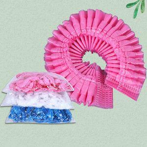 New 100Pcs Bag Disposable Hair Shower Cap Non-woven Pleated Anti Dust Hat Set Women Men Bath Caps Hair Salon Beauty Accessories