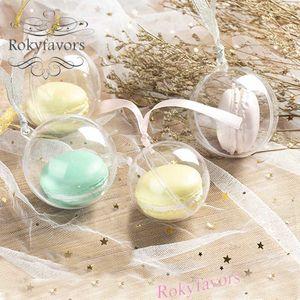 Macaron 100PCS Embalaje 5cm bola Dia acrílico transparente cajas del caramelo La boda favorece Macaron paquete Hornear fuentes de la ducha del bebé ideas dulce Holder