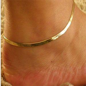 المعادن النساء ثعبان العظام خلخال مجوهرات لون نقي مطلي الذهب سيدة الأزياء مقياس الأسماك الخلخال الشعبية 0 5TK J2B
