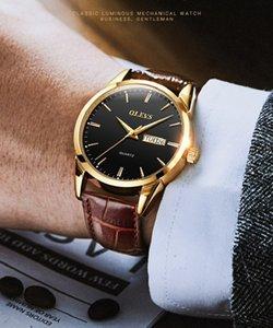 Reloj de cuarzo de OLEVS Calendario Dual Calendario A prueba de agua HD Luminoso Strap Strap Men's Watch