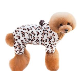 Leopard Print Mode Welpen Kleidung Herbst Winter Warme Korallen Samt Hunde Jumpsuit Kleine Hund Haustier Kleidung Neue Ankunft 5kl J2