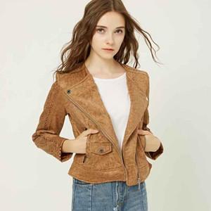 Klacwaya 2020 Herbst-Frauen-Veloursleder-Leder-Biker-Jacken Langarm Zipper Suede Street aushöhlen Brown Mantel