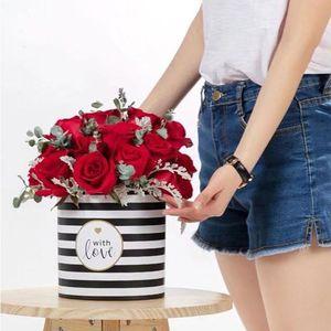 2 Pcs A Set Mini Korean Flower Box Round Hug Bucket Trumpet Gift Box With Lid Florist Flower Bouquet Package Material