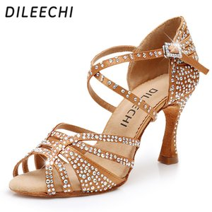 DILEECHI Latin Dance Shoes Women Big Small Rhinestone Salsa Party Wedding Ballroom Dancing Shoes Bronze Black Cuba high heel 9cm 201017