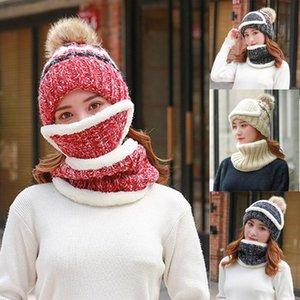 2021 New Balaclava Knitted Hat Scarf Caps Neck Warmer Winter Hats For Men Women Skullies Beanies Warm Fleece Pompom Cap