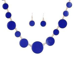 Ретро Круглый Эмаль Монеты Ювелирные наборы 5 цветов 2PS / Set Свадебные Женщины Beads комплект ювелирных изделий ожерелья оптовой себе