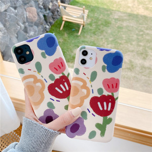 Liquid Silicone Soft Phone Case For iPhone 11 Pro Max X XR XS Max Plus SE 2020 Fashion Flower Starry Sky Back Cover