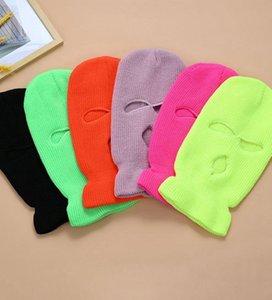 DHL 3 orificios de la cubierta de la cara llena máscara de esquí Invierno Cap capilla del pasamontañas Beanie calientes táctico sombrero de fiesta sombreros 14 colores