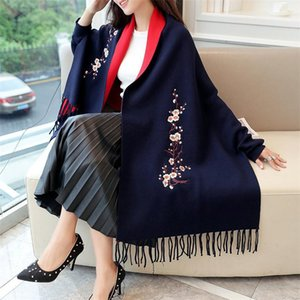 2020ss new large size design women's mid-length loose fashion embroidered wool cardigan fringed cloak sweater 9-color high-end temperam