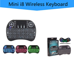 Rii I8 2.4GHz Wireless Mouse Gaming Teclados Branco Backlight Multi-color retroiluminado mouse controle remoto para TV Boxes Android