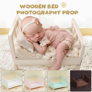 Newborn Props for Photography Wood Detachable Bed baby Photography Background Accessories Flokati Newborn Studio Props for Shoot