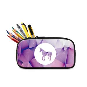 도매 다채로운 Unicorn 인쇄 연필 사례 초등 학생을위한 다기능 화장품 가방 어린 소녀 키즈 미니 펜 상자 가방