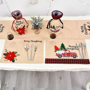 Mat navidad ropa de mesa de Navidad Flor Mantelito creativo vajilla Mats soporte de Navidad decoración de la tabla Para el hogar 46 * 34cm con BWD1238