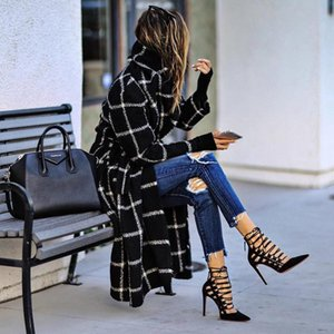 Fashion Sanding Black Coat Women Fall winter 2021 New Plaid Belt Woolen Winter Coat