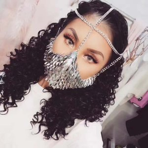 New Style Women Silver Colour Chains Layers Fish Scale Head Face Jewelry Unique Design Face Mask Chains Jewelry 3 Colors Wrhe11 Y19051302