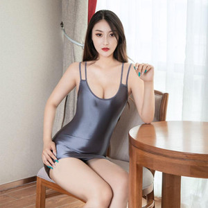 Sexy Women Strap Tight Pencil Cute Dress Oil Gloosy Smooth Micro Mini Dress Shiny Backless Bandage Stage Wear Candy Color