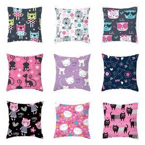 Home Furnishing Pillow Cover 45*45cm Living Room Sofa Lovely Cartoon Cat Cushion Cover Decorative Home Chair Throw Pillowcase